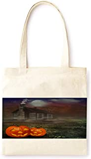 Cotton Canvas Tote Bag Modern Night Candle Fairy Tale Pumpkin Lantern Farmhouse Style Halloween Party Printed Casual Large Shopping Bag for School Picnic Travel Groceries Books Handbag Design