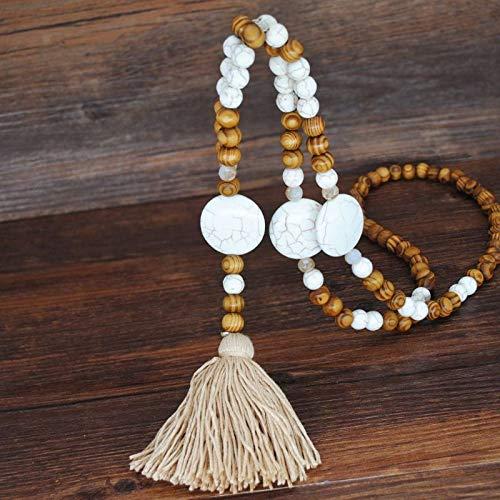 XKMY Joyería para mujer bohemia hecha a mano larga cadena de suéter borla collar de cuentas de madera para mujer (color metálico: 1)
