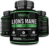 Organic Lions Mane Mushroom Capsules (2400mg | Powerful Nootropic ) Brain Mushroom Supplement for Focus & Immune Support Pure Lion's Mane Mushroom Powder Extract - Brain Booster Memory & Energy Pills