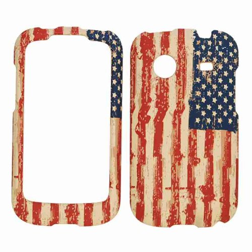 Cell Armor Snap-On Carrying Case for ZTE Whirl - Retail Packaging - Distressed USA Flag