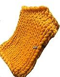 100% Merinowolle Decke handgewebte Chunky Knitted Decke sperrige Throw für Sperrige Sofa Soft Fluffy sperrige Wolle Throw, yellow , 80 * 100cm