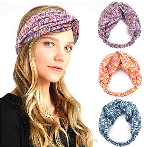 IYOU Bandeau de yoga Bandes de cheveux larges extensibles Bandeau élastique Bandeau de course en coton pour femmes et filles (pack de 3)
