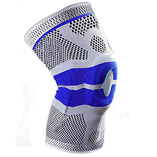 Knee Brace Compression Sleeve Support for Women Men Elastic Knee Wraps for Running, Basketball, Volleyball, Crossfit, Squats, Workouts, Sports Kneepads Grey 2XL.