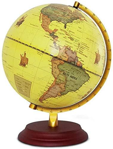 THj Globo del Mundo de la Vendimia de 10 Pulgadas Globo de Escritorio Decorativo Antiguo Globo de geografía de la Tierra giratoria Globo Educativo de Base de Madera para Regalo de niños