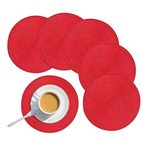 Homcomodar Platzsets Rund Abwischabr 6er Set Tischsets Weihnachten Platzdeckchen Hitzebeständigeb für Küche Speisetisch Rot 34cm