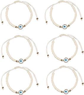 The Woo's Evil Eye Braided Rope Bracelet Handmade Lucky Protection Bracelets Adjustable Red String Hamsa Charm Bracelet Wi...