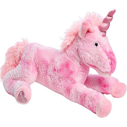 GirlZone Stuffed Pink Plush Unicorn for Girls, Large-18 Inches, Glitter Horn, Great Birthday Gift Idea