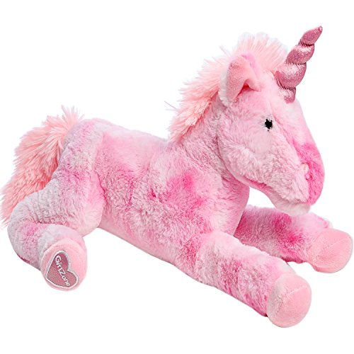 GirlZone Stuffed Pink Plush Unicorn for Girls, Large-18 Inches, Glitter Horn, Great Birthday Gift Idea