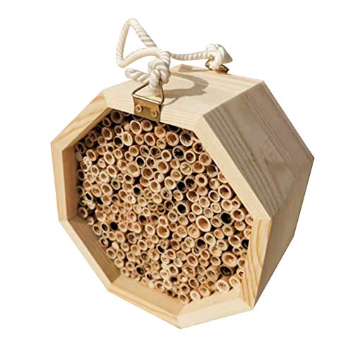 Tenglang Handmade Natural Wooden Bee Hive - Mason Bee House Tubes for Attracts Peaceful Bee Pollinators to Enhance Your Garden's Productivity