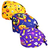 Asufegucd 3pc Women's Adjustable Bouffant Hats with Button Working Cap and Sweatband Adjustable Tie Back Hats for Women/Men (Halloween Style)