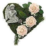 Decorazione per tomba, a forma di cuore, con muschio, a forma di croce o angelo, a forma di cuore, a forma di rose (30 cm - 3 rose delicate, colore: rosa