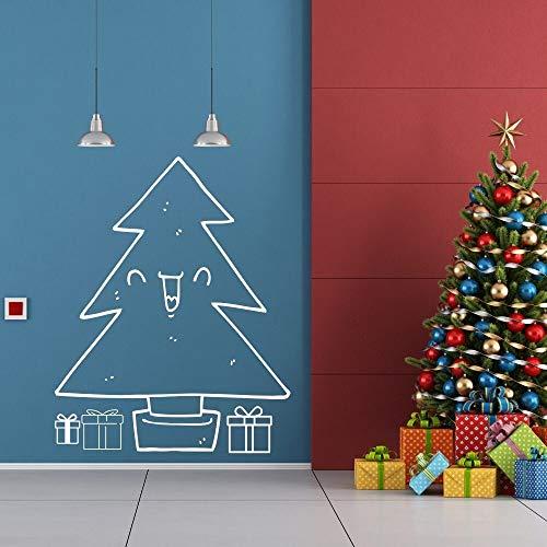 Dwzfme Adhesivos Pared Pegatinas de Pared Feliz Navidad árbol calcomanía Navidad Pegatina hogar Sala de Estar decoración de Arte de Pared 86x105cm