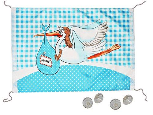 alles-meine.de GmbH Fensterfahne / Fahne Storch - Baby blau zur Geburt - Jungen Klapperstorch Babyparty Neugeboren Flagge - wasserfest - XL Banner Babyshower Shower Pullerparty