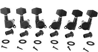 Musiclily 3+3 Big Button Locking Guitar Tuning Keys Pegs Tuners Machine Head Set Guitar Parts,Black
