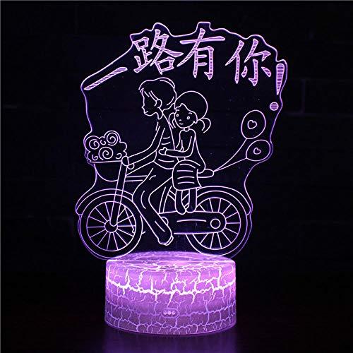Luz nocturna 4D LED lámpara de ilusión óptica tiene todo el camino 3D luz nocturna para niños, lámpara de ilusión 3D y control remoto RQGPX noche luz mejor regalo para niños