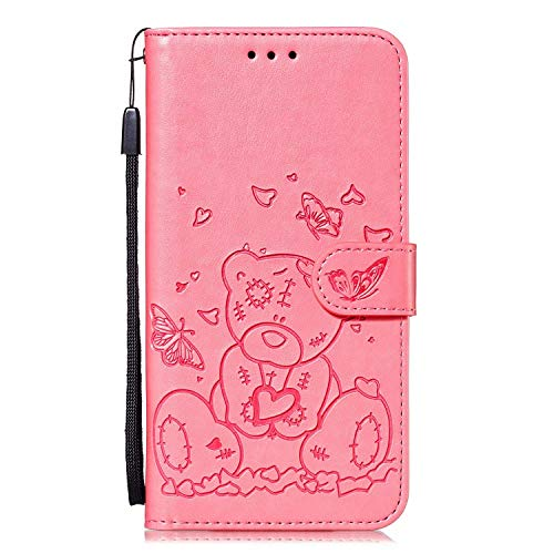 Veapero Kompatibel für Hülle Sony Xperia L4 Handy Hülle Leder Hülle Tasche Wallet Handyhülle Bookstyle Brieftasche Schutzhülle Handytasche Magnetisch Kartenfach Ständer Etui,Rosa