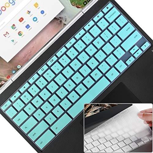 Keyboard Cover Skin for HP 11.6/14 inch Chromebook x360, HP Chromebook 11,14 G2/G3/G4/G5/G6 EE/G7 EE/11A-NB0013DX,Chromebook 14-db/ca/ak/DA 14B-CA 14a-na Series,Keyboard Accessories, Mint+Clear