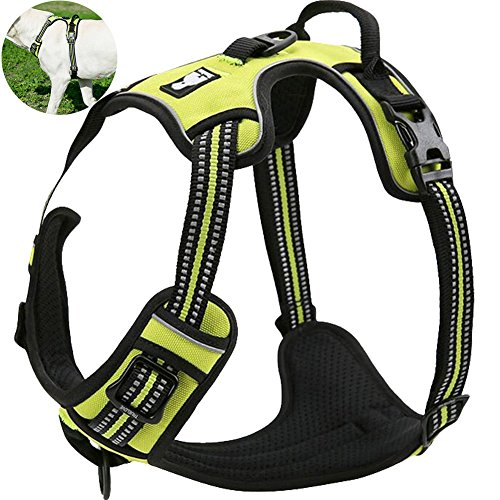OLizee New No Pull Dog Harness Outdoor Adventure Reflective Markings Pet Vest with Handle Adjustable Protective Nylon Walking Pet Harness Variety of Sizes and Colors,Green L