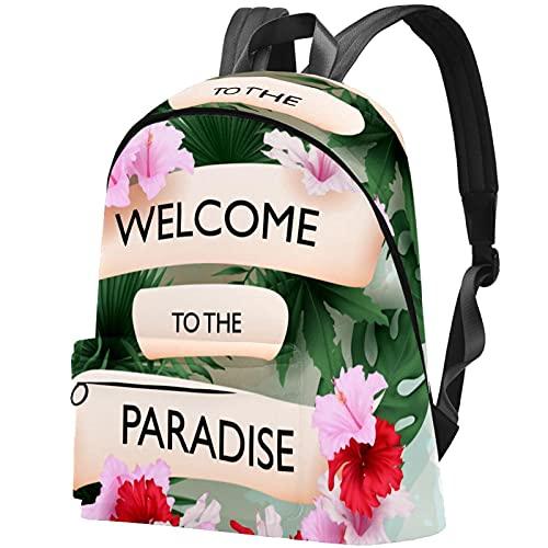 wuqiandian Mochilas para mujeres Hombres Bolsa de viaje Mochila Bienvenido al paraíso tropical. Mochila Universitaria