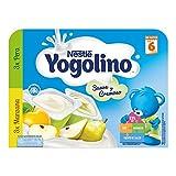 Nestlé Yogolino Postre lácteo Suave y Cremoso, 3 tarrinas de Pera y 3 tarrinas de Manzana - Para bebés a partir de 6 meses - 6x60g