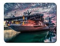 サンディエゴ、USSミッドウェイ、日没 パターンカスタムの マウスパッド 旅行 風景 景色 (22cmx18cm)