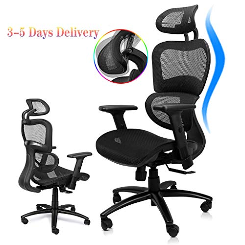 Komene Ergonomic Mesh Office Chair, High Back Desk Chairs with Adjustable Headrest Backrest, 3D Flip-up Arms, Swivel Executive Chairs Lumbar Support, Tilt Function,Non-Slip PU Wheels Black
