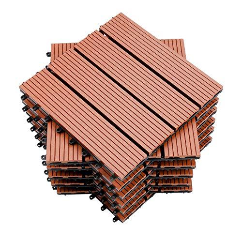 wolketon Terrassenfliesen WPC Holz Kunststoff Fliesen 30x30 cm Balkonfliesen Klickfliesen Garten Decking Déco,Wasserdicht,korrosionsbeständig und einfach zu installieren (11 Stück,braun)