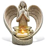OakiWay Memorial Gifts – Tealight Candle Holder Sympathy Gift, with Flickering Led Candle, Angel Figurines in Memory of Loved One, Bereavement Gifts - Remembrance Gifts - Condolence Gifts
