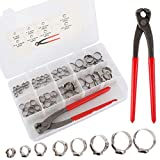 1/4'-15/16' 304 Stainless Steel Single Ear Hose Clamps Kit with Ear Clamp Pincer for Securing Pipe Hoses and Automotive Use (80PCS Clamps+Pincer)