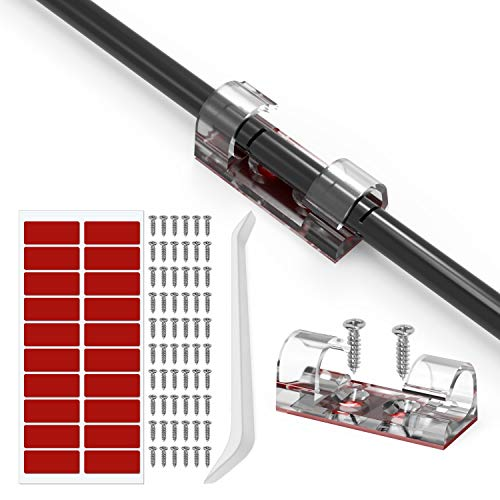 60 Stück Kabelclips, Kabelführung Kabel Organizer, Selbstklebende Drahthalter für Schreibtisch, Netzkabel, USB Ladekabel, Ladegeräte und Audiokabel