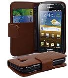 Cadorabo Hülle für Samsung Galaxy ACE 2 in KAKAO BRAUN – Handyhülle aus glattem Kunstleder mit Standfunktion & Kartenfach – Hülle Cover Schutzhülle Etui Tasche Book Klapp Style
