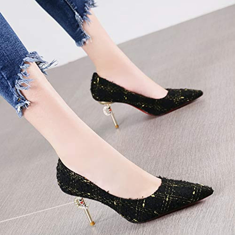 Pumps Mode spitz Temperament Stiletto Heels weinrot Strass einzelne Schuhe Schuhe Frauen  mit günstigen Preis Top-Marke zu bekommen