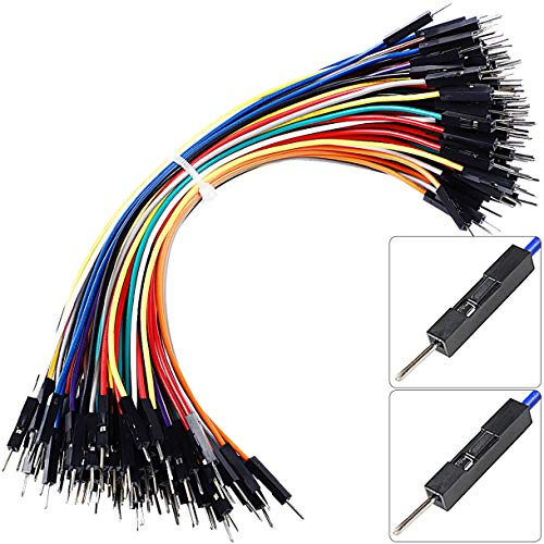 Premium Breadboard Jumper Wires Male to Male 0.1'' Square Head 100-Pack 10 Colors 24AWG by Hellotronics (15CM, 1P M/M)