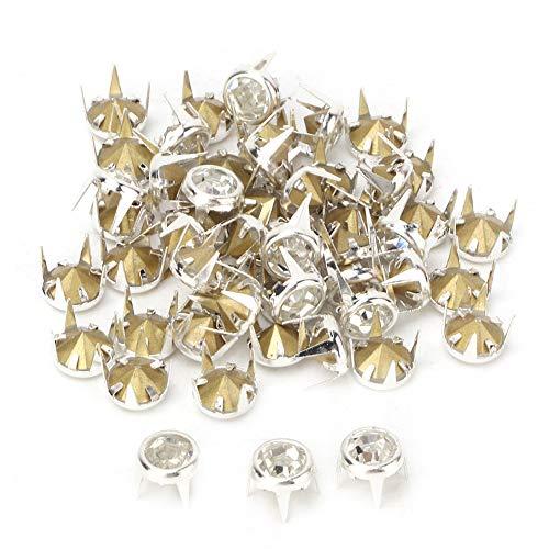 ViaGasaFamido Cabeza de Clavo de Diamantes de imitación, 50PCS 7mm DIY Garra Redonda de Plata A Piedras de Cristal de Grado Blanco/Rosa Cuentas de Garras de Diamantes de imitación Espárragos(Blanco)