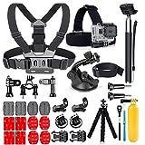 YEHOLDING Accesorios 25 en 1 para GoPro, kit de accesorios para cámara de acción para GoPro Hero 9 8 Max 7 6 5 4 3 SJ4000 y otras cámaras deportivas