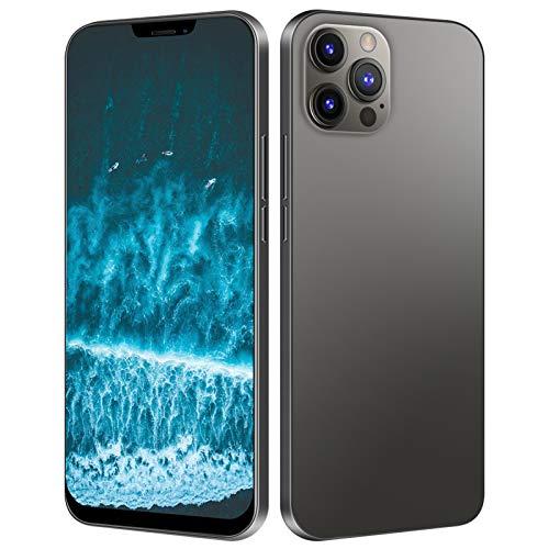 Smartphone I12 Pro Max, 6 + 64 GB con schermo HD da 6,7 pollici con sblocco facciale e smartphone con 16 MP + 13 MP Pixel, doppia scheda in standby, scheda di memoria da 128 GB per Android (nero)(EU)