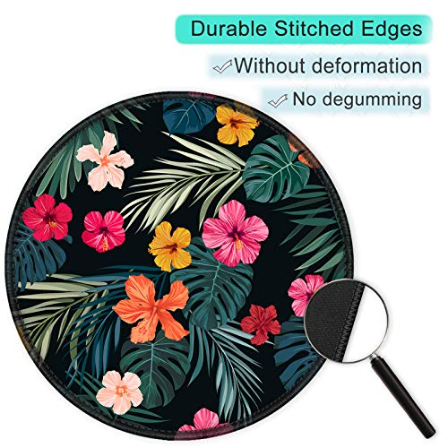 ITNRSIIET [20% Larger] Mouse Pad with Stitched Edge Premium-Textured Mouse Mat Waterproof Non-Slip Rubber Base Round Mousepad for Laptop PC Office 8.7×8.7×0.12 inches, Beautiful Floral Photo #2
