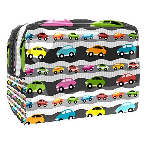 Bolsa de maquillaje portátil con cremallera bolsa de aseo de viaje para mujeres práctico almacenamiento cosmético bolsa de dibujos animados coche colorido