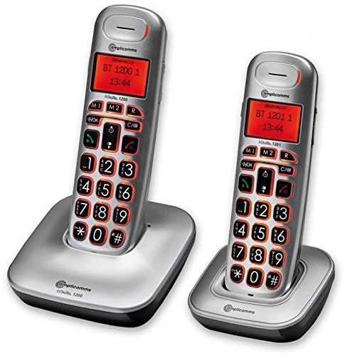 amplicomms BigTel 1202, Schnurloses Großtastentelefon mit zusätzlichem Mobilteil, Hörgerätkompatibel