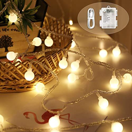 BeauFlw 100 LED Globe Lichterkette, Wasserdichte Innen und Außen Lichterkette glühbirne, Lichterkette für Weihnachten Hochzeit Party, Batteriebetrieben(warmweiß)