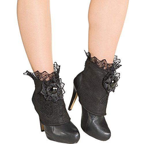 NET TOYS Elegante Stiefelstulpen mit Spitze Gothic Boot Covers Steampunk Schuhstulpen Vampir Shoecovers