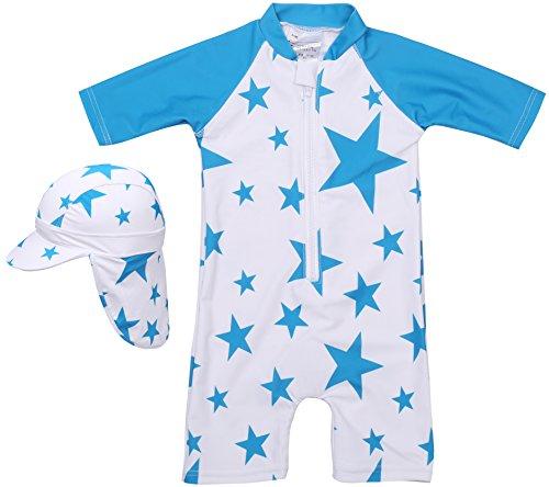 【Babystity】 水着 男の子 子供 ベビー 星柄 UPF50+ 帽子付き (ブルー, 90)