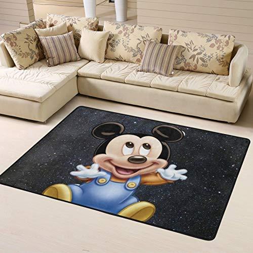 Alfombra de piso de Mickey Minnie Mouse de dibujos animados para sala de estar, dormitorio, decoración del hogar, alfombras antideslizantes de 63 x 48 pulgadas para interiores y exteriores