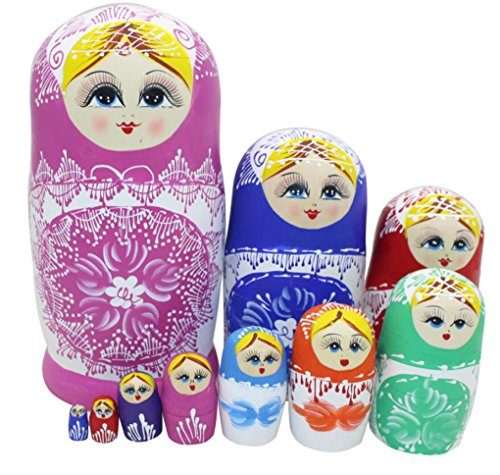 10pcs Lovely Large Russian Nesting Doll Handmade Wooden Dolls, Colorful Porcelain by Winterworm