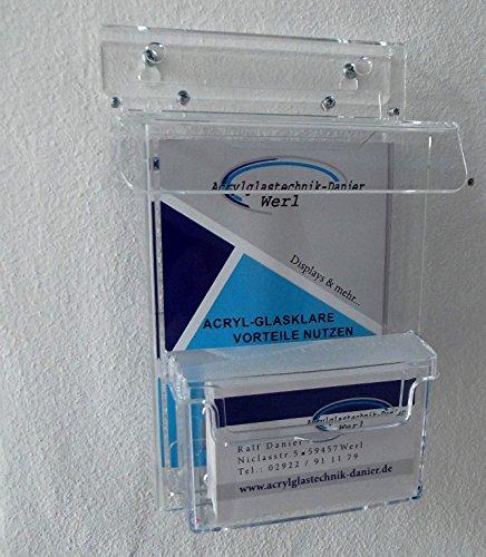 DIN A 6 (105 x 150 mm) Flyerbox Prospekt Box mit Visitenkarten Box wetterfest aus Acrylglas