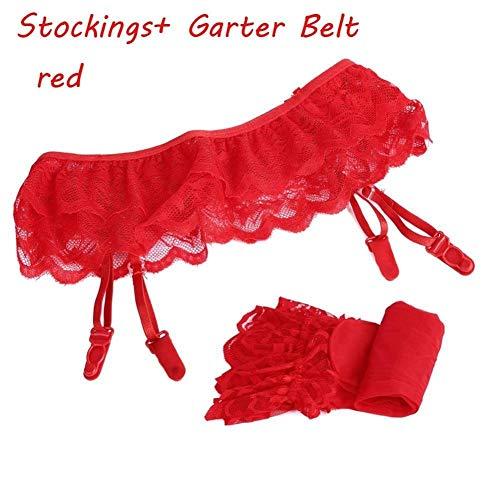 DYHM Strümpfe 1 Satz der modernen Frauen reizvolle Spitze weichen Schenkel-hohe Socken Strumpf Strap Schwarz Weiß (Color : Rot, Size : One size)