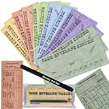 Budgetizer Cash Envelopes System - 12 Pack Tear & Water Resistant Budget Planner Envelopes –Assorted Colors Money Envelopes - Bundle with 1 Cash Organizer Wallet and 1 Counterfeit Bill Marker Detector