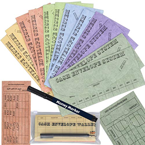 Budgetizer Cash Envelopes System - 12 Pack Tear & Water Resistant Budget Planner Envelopes –Assorted Colors Money Envelopes - Bundle with 1 Cash Organizer Wallet and 1 Counterfeit Bill Marker Detector