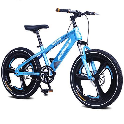 MXSXN Bici per Bambini per Ragazzi E Ragazze, Cerchio in Lega di Magnesio Formato Integralmente Forcella Anteriore Ammortizzante, 16 18 20 Pollici con Cavalletto, Blu,20'
