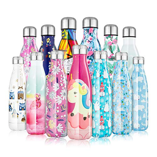 Botella de Agua Acero Inoxidable 350/500/750ml, Cantimplora Termo con Doble Aislamiento para 12 Horas de Bebida Caliente y 24 Horas de Bebida Fría, Sin bpa Botella Reutilizable para Niños Deporte